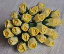 6mm LIGHT YELLOW ROSE BUDS (L) Mulberry Paper Flowers
